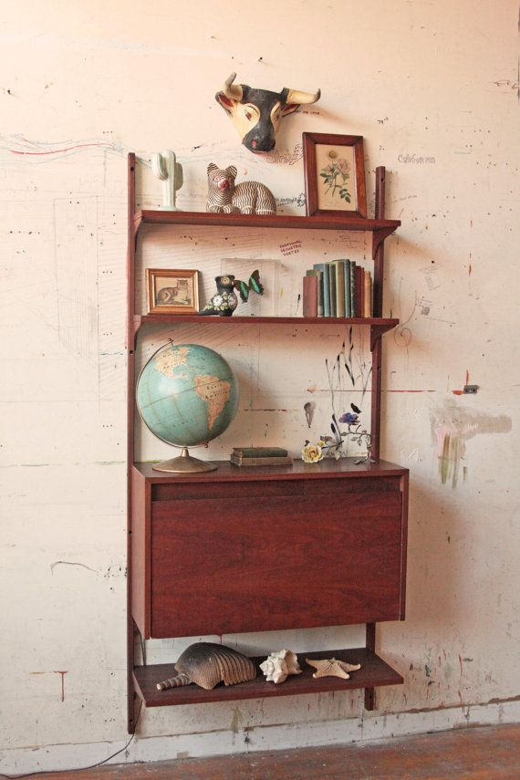 Mid Century Wall Unit Shelving Bar With Light Wall