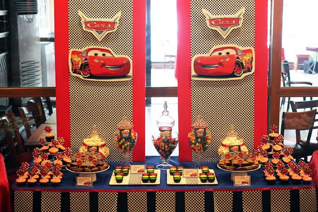 Disney Cars Dessert and Candy Buffet Table