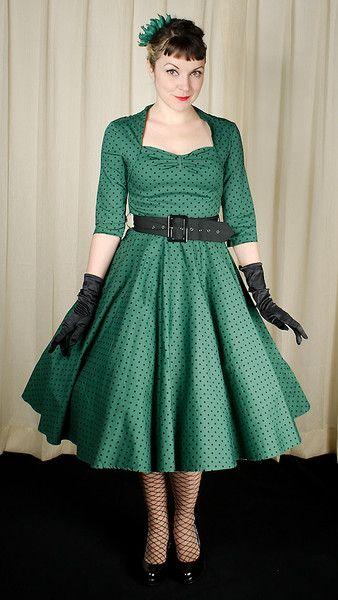 Hell Bunny Emerald Momo Dot Swing Dress