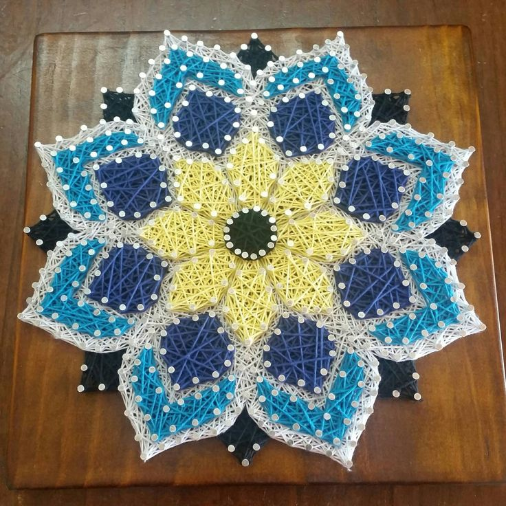 Mandala Flower String Art Wall Decor by ShazzArtz on Etsy
