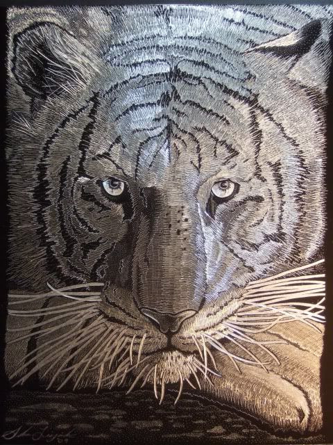 dremel engraved glass | Thread: ****White Tiger - Hand Engraved with Dremel Tool on Black ...