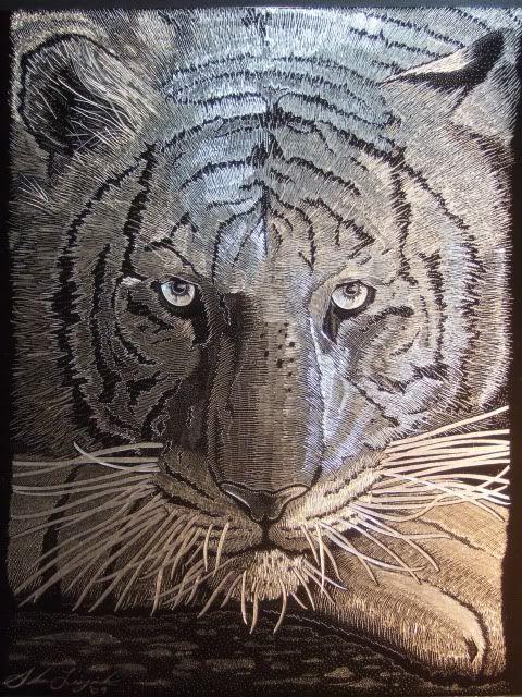dremel engraved glass | Thread: ****White Tiger - Hand Engraved with Dremel Tool on Black ...
