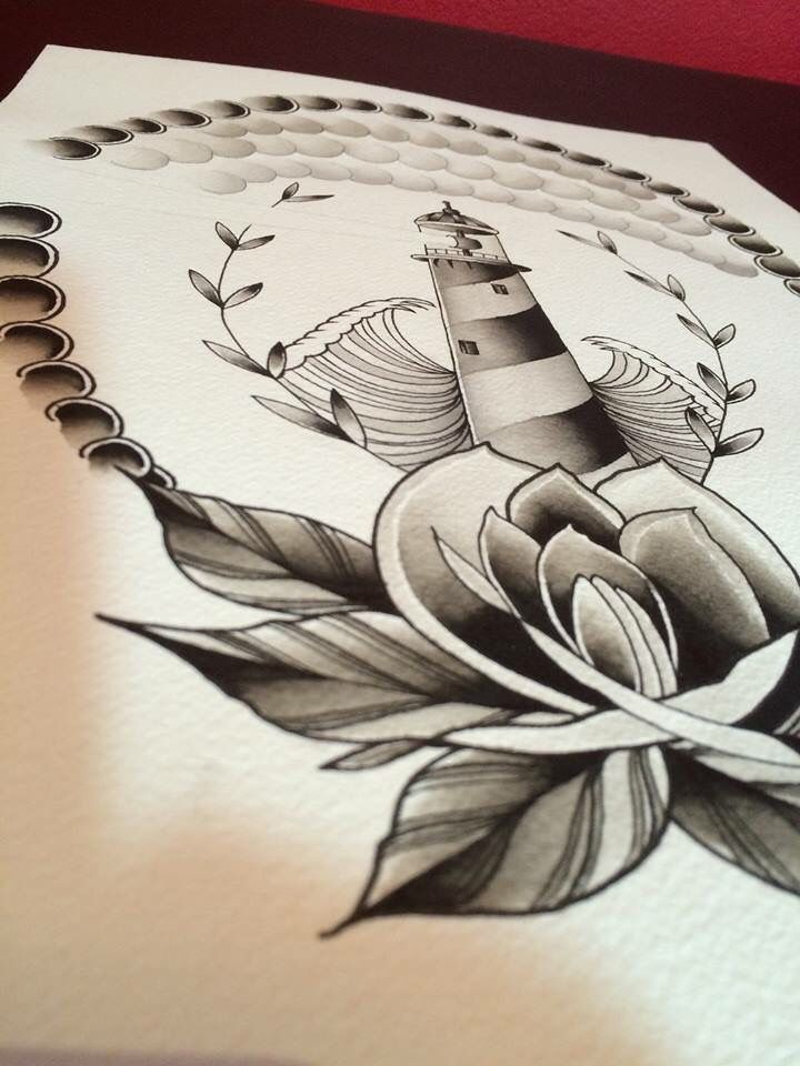 Neo traditional, tattoo, hand painted, artistic, light house, detailed, black and grey, colour, roses, leaves