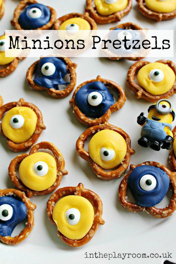 Minion Pretzels. Fun and easy minions themed snack for kids, great for movie nights #redboxbakeoffcontest