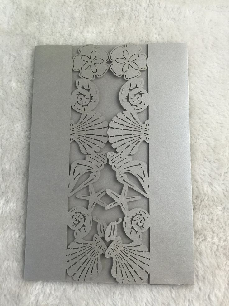 50pieces Luxury Silver Seashell Design Wedding Invitation Kits Laser Cut Birthday Greeting Cards Engagement Invitation Cards free shipping by KJdecoration on Etsy