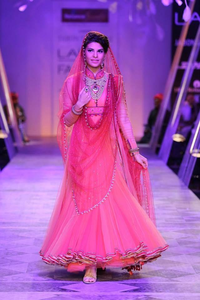Tarun Tahiliani Lakme Fashion Week Summer Resort 2014 Jaqueline Fernandez in red bridal anarkali suit.