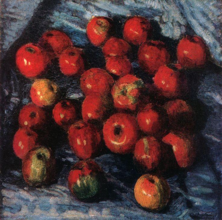 И. Грабарь. Красные яблоки на синей скатерти. 1920. Частное собрание