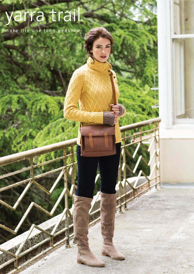 Play with textures this season with our unique Diamond Knit Sweater. Cut with a super cosy roll collar, the long sleeve style features a placket with button closure and rib knit detailing at the cuffs and hemline. http://www.yarratrail.com.au/knitwear/diamond-knit-sweater-harvest-gold-mix-15w7846.html