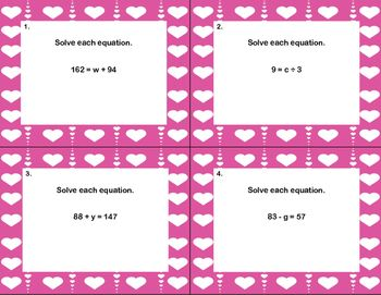 "40 Math Task Cards- ""I Love Solving Equations""... by Linda McCormick | Teachers Pay Teachers"