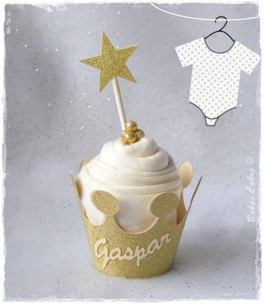 Cadeau de naissance Crown body cupcake