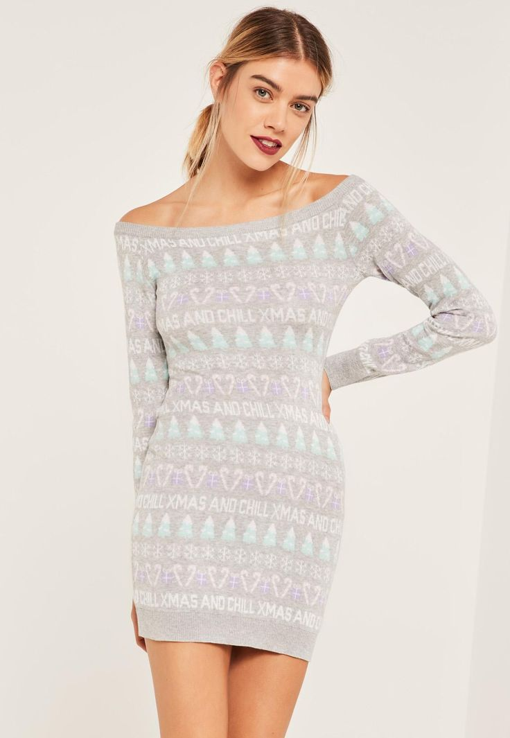 Missguided - Grey Xmas And Chill Christmas Jumper Dress Grey