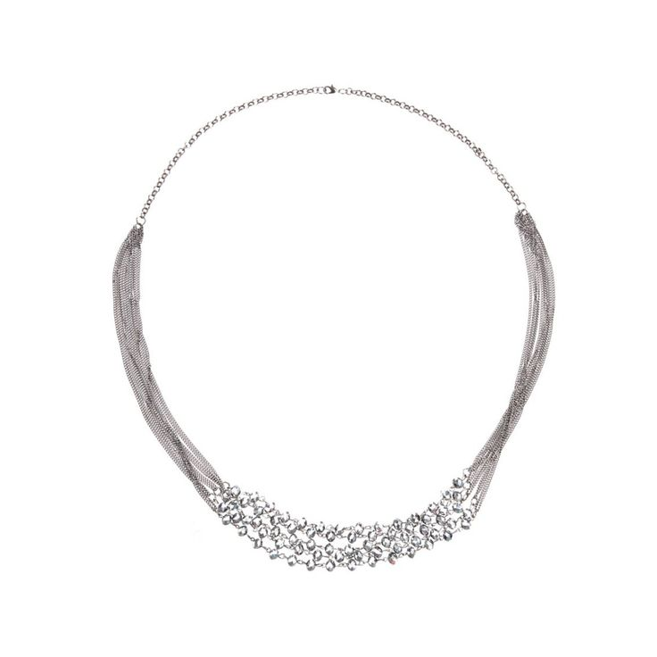 Long-chain Beaded Necklace Silver