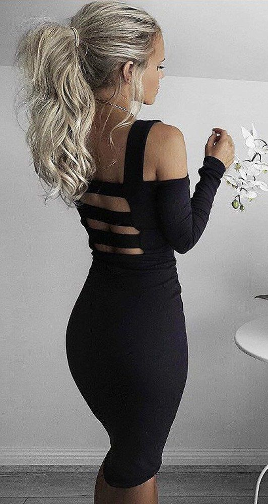 Black Open Back Bodycon Dress