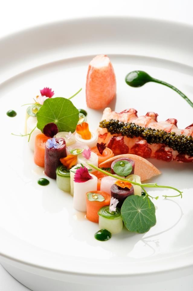Butter-Poached Lobster with Seasonal Vegetables & Lobster Consommé | The Mandarin Grill's www.mandarinoriental.com