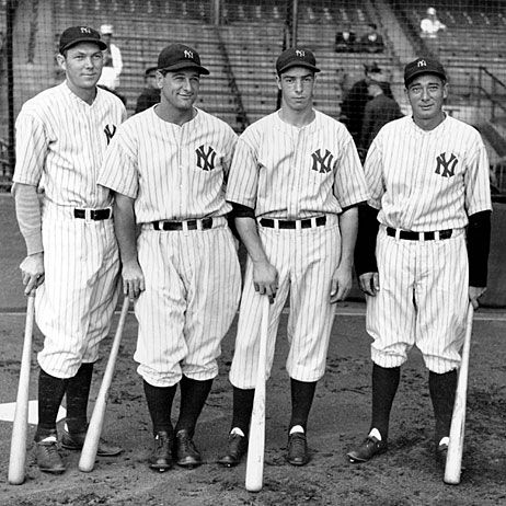 Yankee sluggers pose together at Yankee Stadium Sept. 20, 1936. From left: Bill Dickey, Lou Gehrig, Joe DiMaggio and Tony Lazzeri. The Yankees went on to win the World Series over the New York Giants in six games.