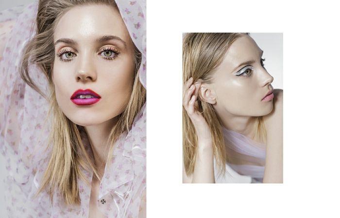 Gloria Glam magazine Simona Antonovic make-up / Duochrome lips lipliner beauty editorial