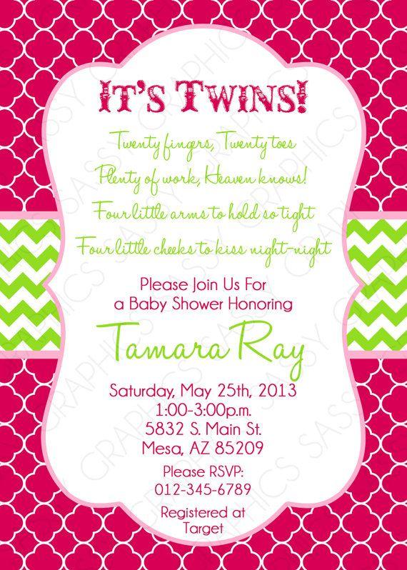 Twin Girls Baby Shower Invitation  Pink Green Chevron by Sassygfx, $13.00