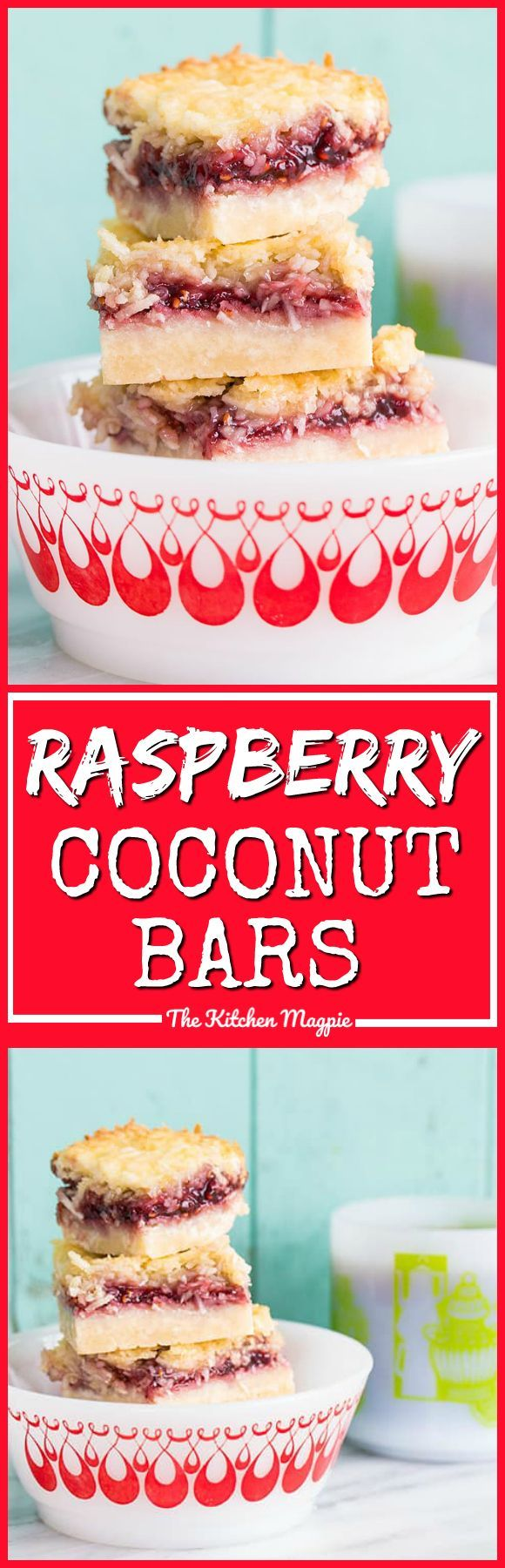 Raspberry Coconut Bars, the perfect bar recipe! It freezes well and tastes amazing! Recipe from @kitchenmagpie #dessert #christmas #coconut #recipe
