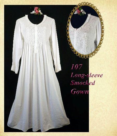 Sleepwear Long Gowns | ... Gown-longsleeve long sleeve white cotton 100% nightgown gown lawn