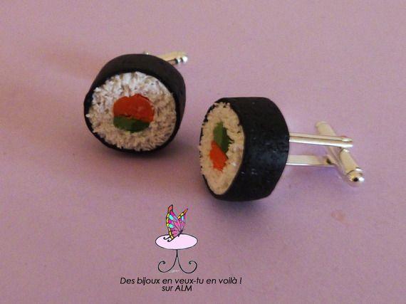 Boutons de manchette originaux. Sushis faits main. Bijoux accessoires hommes. Cufflinks. Inspiration polymer clay. Miniature food. http://des-bijoux-en-veux-tu.alittlemarket.com www.facebook.com/Desbijouxenveuxtuenvoila