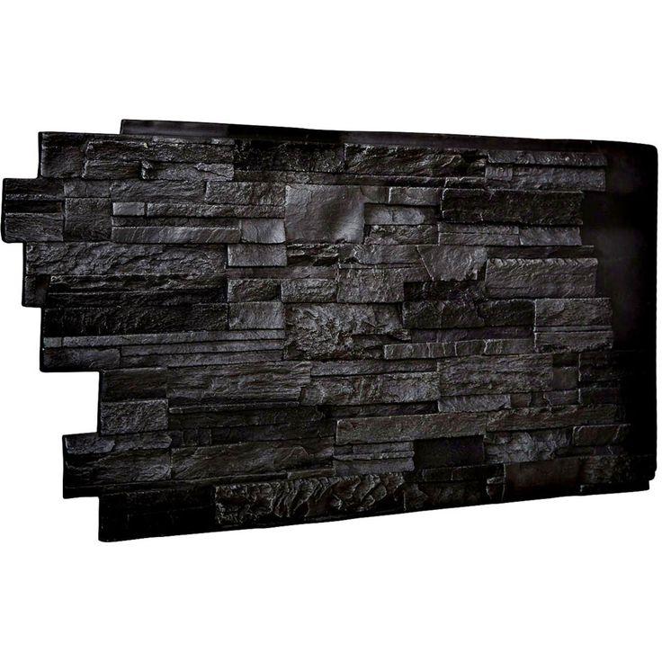 """48""""W x 25""""H x 1 1/2""""D Dry Stack Endurathane Faux Stone Siding Panel, Graphite - 86.9900"""