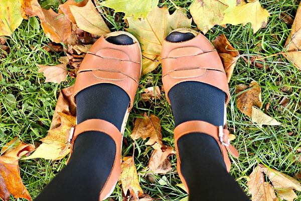 Lotta From Stockholm Tan Peep Toe Clogs Autumn Leaves