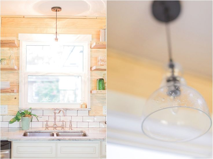 Stainless Steel Jack and Jill Sink Faucet with white subway tile and natural pine shiplap boards & open shelves in the kitchen.  Kitchen Remodel.  Open Shelves.  Shiplap.  Clear pendant light over the kitchen sink.