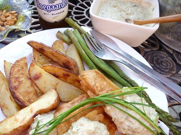 Crispy Beer-Battered Tofu 'Fish' Goujons with Vegan Tartare Sauce & Oven-Baked Fries