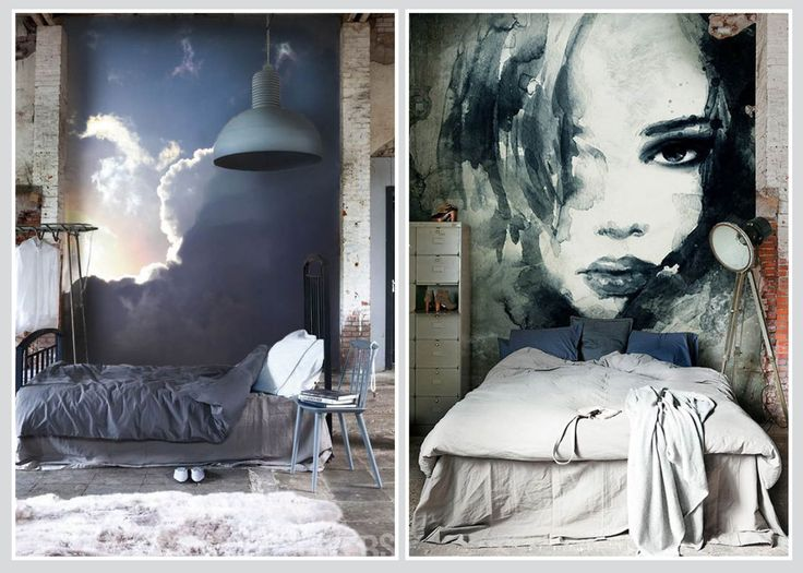In a loft setting with an abundance of spatial volume, these murals (not the bed) create a zone for sleep and rest
