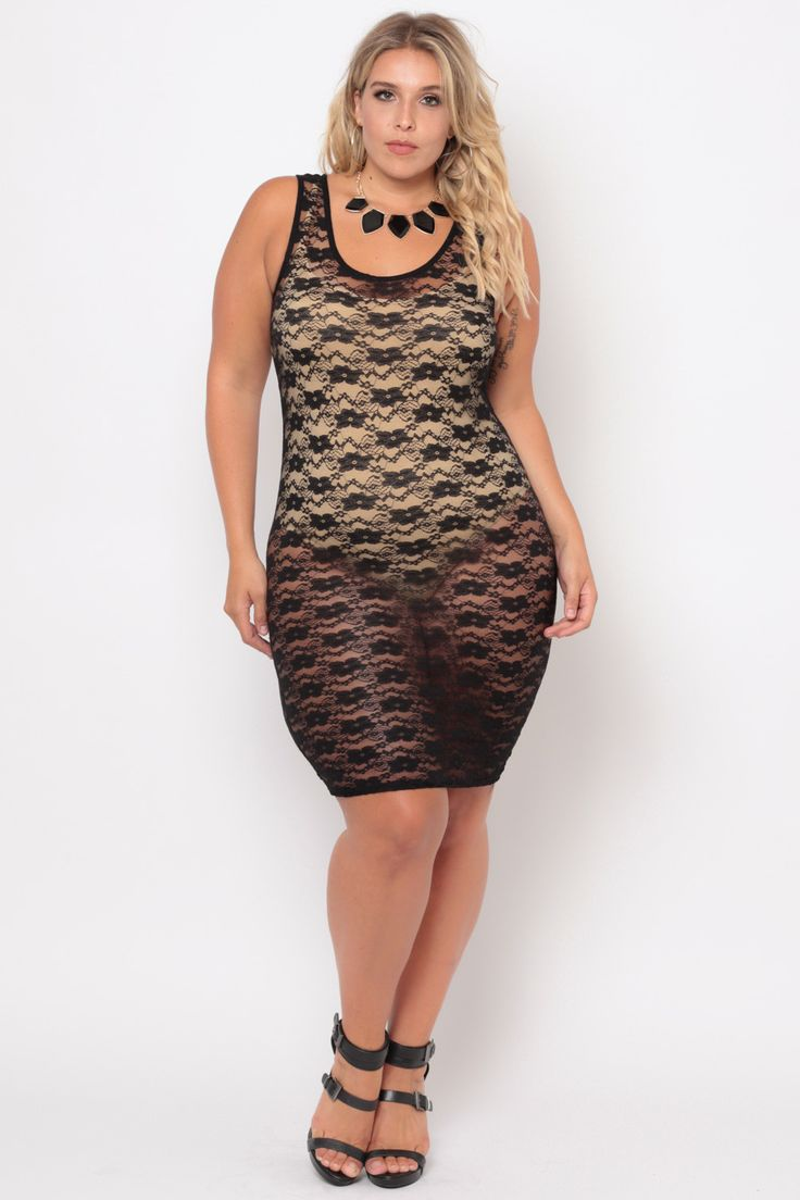 Plus Size Sheer Floral Lace Dress - Black