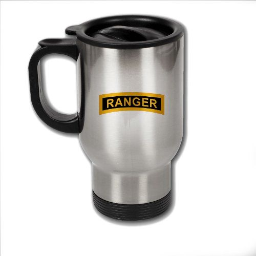 Stainless Steel Coffee Mug with US Army Rangers Airborne tab ** Learn more by visiting the image link.
