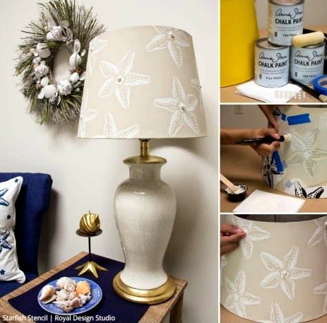 Best 25 decorate lampshade ideas on pinterest diy projects lamp diy coastal starfish stencil ideas for furniture httpcompletely aloadofball Gallery