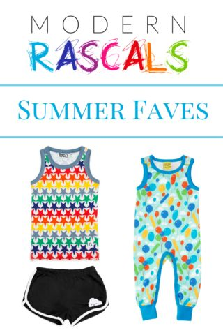 Modern Rascals's Summer 2017 Faves and Look Book. Retro shorts, bright colours, kids capsule wardrobe.