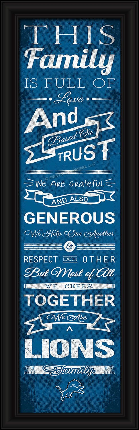 This full-color print features an inspiring message and lets everyone know who your family cheers for. The finished piece measures 24 x 8 inches in size and features the team logo.