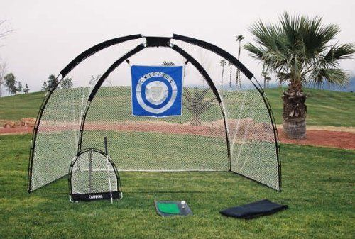 This high-quality golf practice set includes a driving net, chipping net, and driving mat in a nylon carry bag.