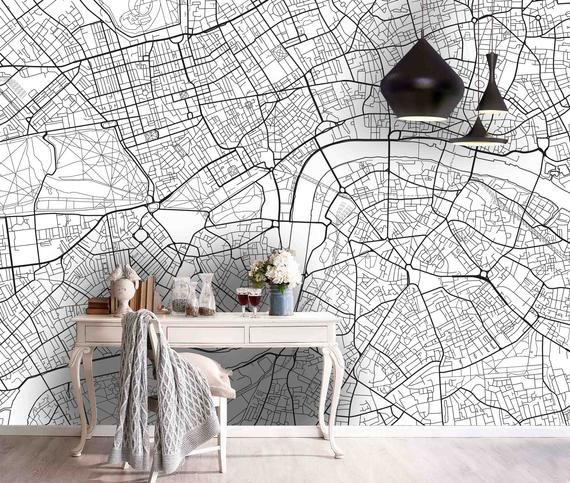 3d Grey City Route Lines Map Wallpaper Mural Peel And Stick Wallpaper Removable Wall Prints Stickers Feature Wall Wallpaer B351 In 2021 Map Wall Mural Map Wallpaper Mural Wallpaper