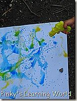 Primary and Secondary Color  I filled my little water guns with water and added 3-4 drops of coloring food….red inside the red gun, blue inside the blue and yellow in the yellow.    Later, we grabbed two papers: