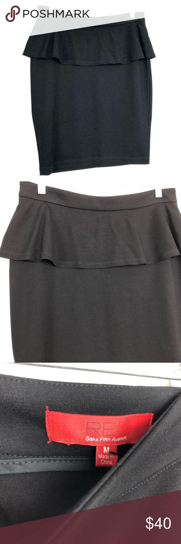 "Red Saks 5th Avenue Black Peplum Skirt NWT Red Saks 5th Avenue Black Peplum Skirt. NWT.  Approx 22"" length.  Rayon/Nylon/Spandex.  J2. Saks Fifth Avenue Skirts Pencil"