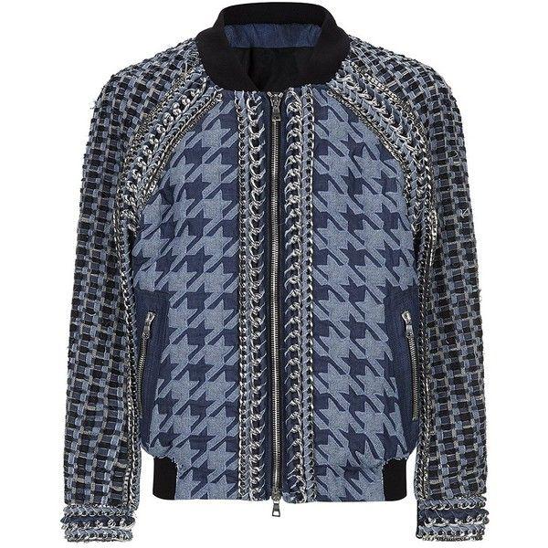 Balmain Embellished Denim Bomber Jacket (€13.325) ❤ liked on Polyvore featuring men's fashion, men's clothing, men's outerwear, men's jackets, balmain, jackets, mens quilted bomber jacket, mens houndstooth jacket, mens denim jacket and balmain mens jacket