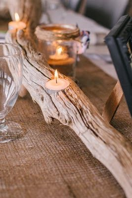 Rustic, driftwood Centrepieces with paper flowers or a plant, for morning wedding