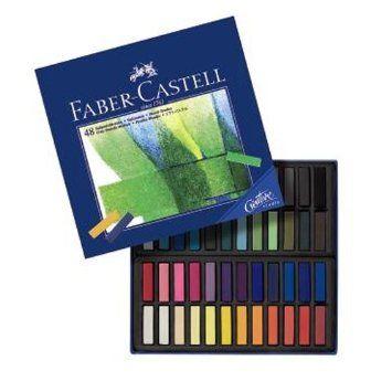 FABER-CASTELL Demi Pastels carrés tendres, boîte carton de 48