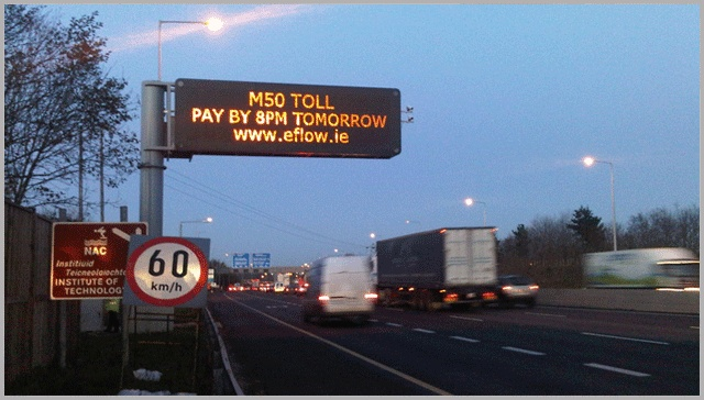 LED Traffic Warning and Guidance Variable Message Displays on M50 in Dublin. Tested to EN12966 with options to show Text and Pictograms