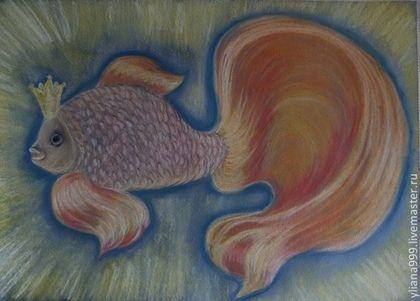 """Картина """"Золотая Рыбка"""" - картина,пастель,бумага пастельная,графика,авторская работа"""
