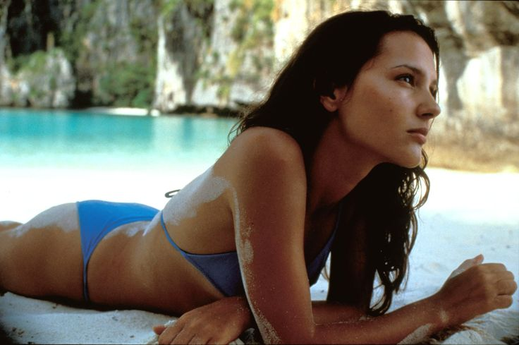 Virginie Ledoyen sur le tournage du film La Plage à Maya Bay sur Ko Phi Phi Lay