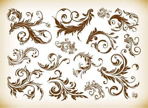 Free vector Vintage Design Element Vector Graphics Set #4984