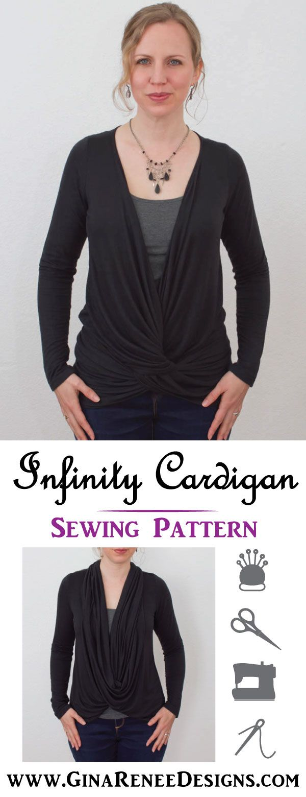 Infinity Scarf Cardigan Sewing Pattern. Such an Elegant Drape! Sewing pattern by  Gina Renee Designs