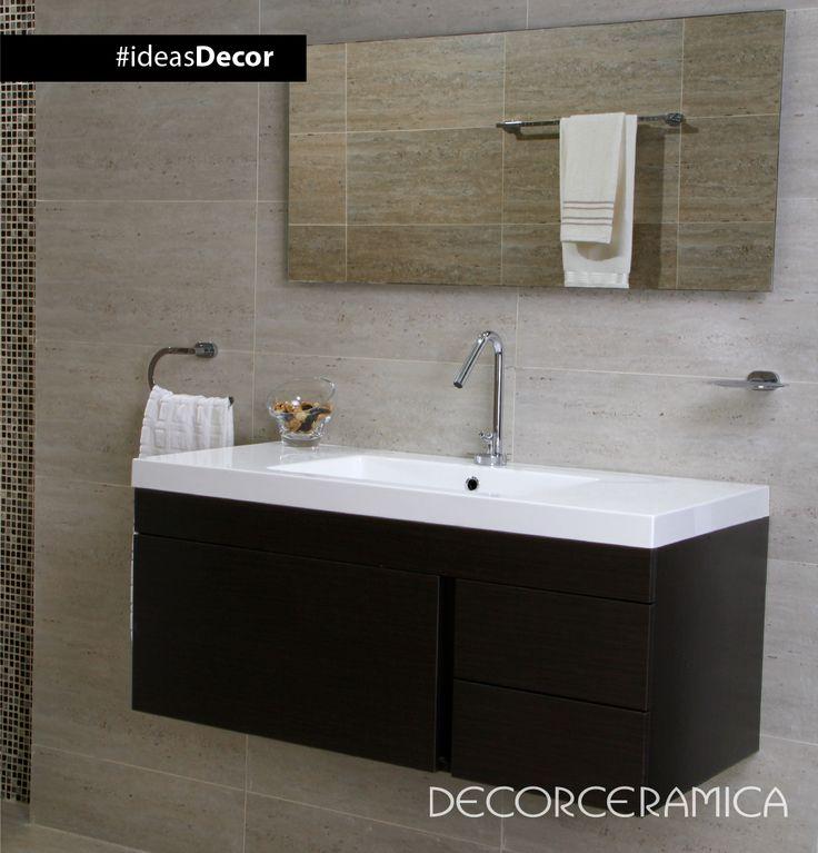 #ideasdecor te recomienda Acentúa la ilusión de amplitud y la iluminación de un baño pequeño instalando un espejo horizontal. #Decorceramica #ideasDecor