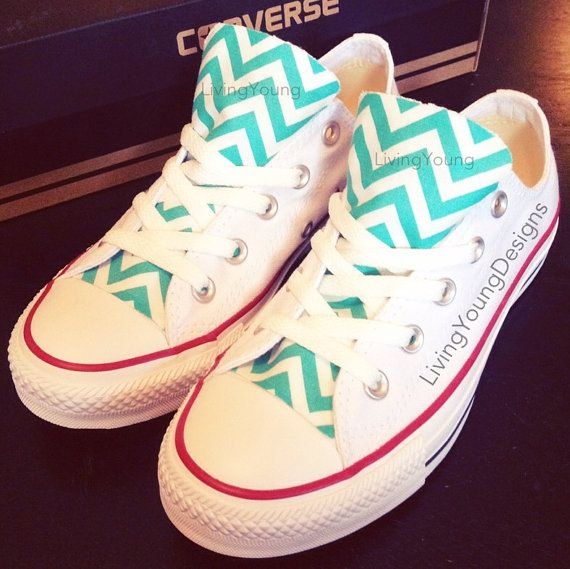 Chevron Converse Low Top Sneakers Aqua Blue White Custom Chuck Taylors on Etsy, $85.00
