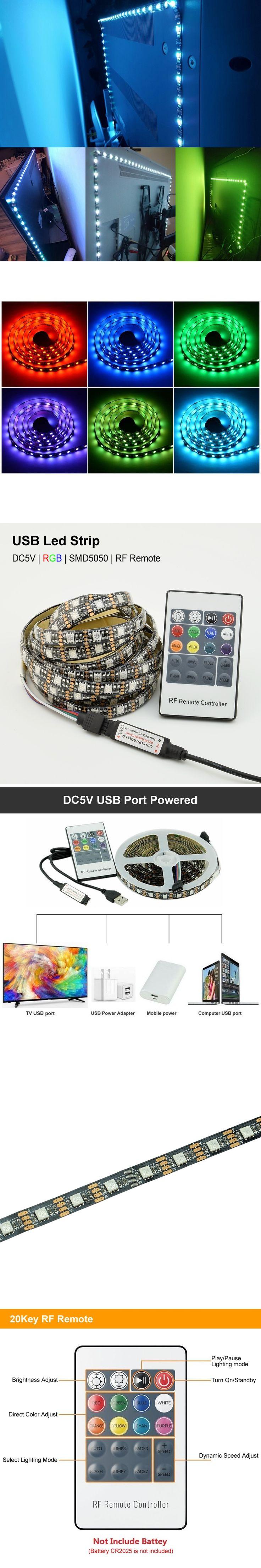 USB RGB Led Strip 5050 LED Home Theater TV BackLight Accent Back Lighting Kit Bias Multi-Color Strips RGB LED Strip IP20 / IP65