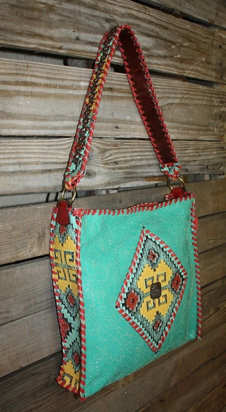 KurtMen Box Tote in Turquoise Crackle with Tomato Red Whipstitch and Santa Fe Embossed Aztec www.gugonline.com Price:$499.95